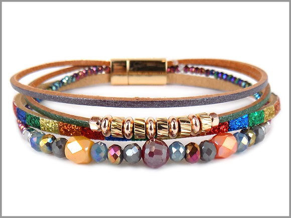 MULTI COLOR LEATHER MAGNETIC BRACELET ( 5656 )