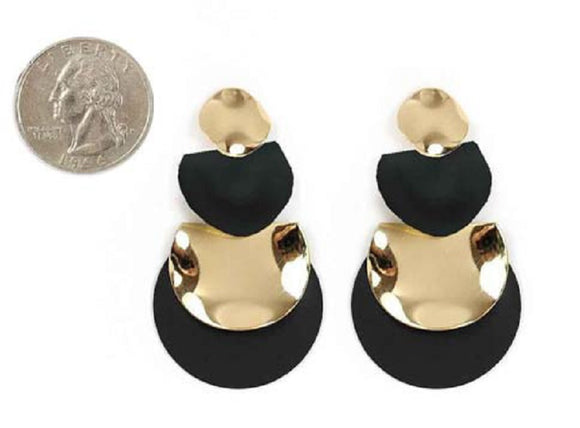 GOLD BLACK DANGLING EARRINGS ( 4432 GDBK )