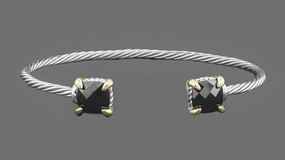 SILVER GOLD CUFF BANGLE BLACK CZ CUBIC ZIRCONIA STONES ( 7638 )