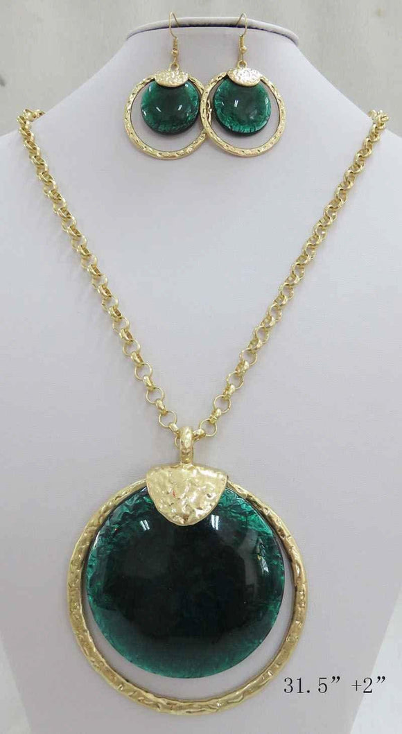 LONG GOLD NECKLACE SET GREEN STONES ( 3714 MGGN ) - Ohmyjewelry.com