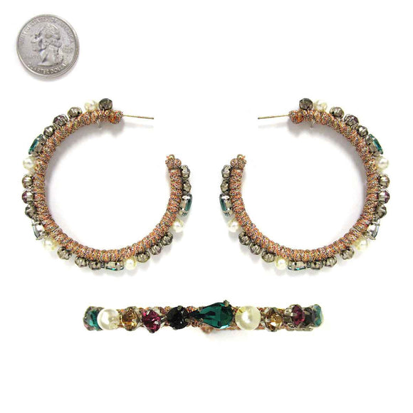 HOOP EARRINGS MULTI COLOR STONES THREAD ( 9038 )
