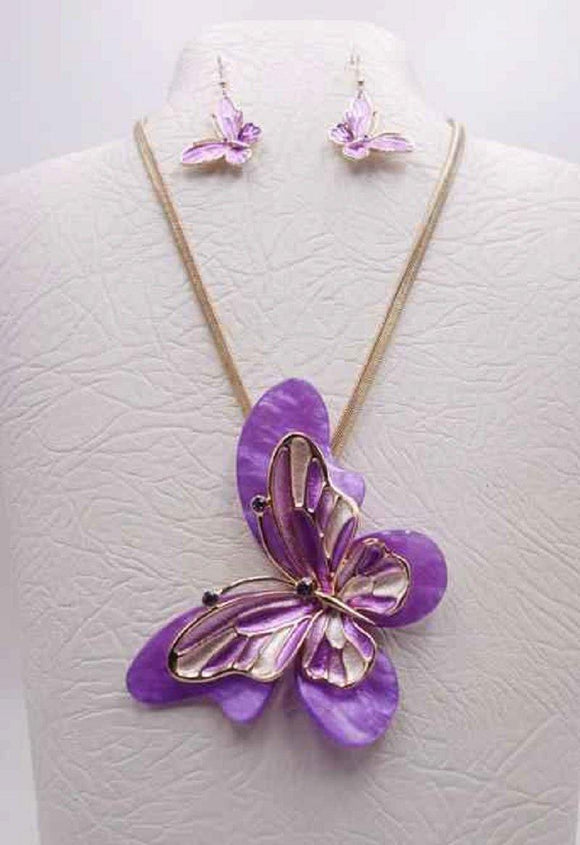 GOLD PURPLE MULTI COLOR BUTTERFLY NECKLACE SET ( 3680 GPP ) - Ohmyjewelry.com