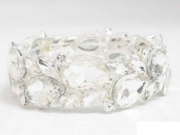 SILVER STRETCH BRACELET CLEAR STONES ( 8700 )