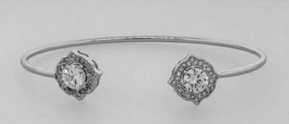 SILVER CZ CUBIC ZIRCONIA CUFF BANGLE ( 7438 )