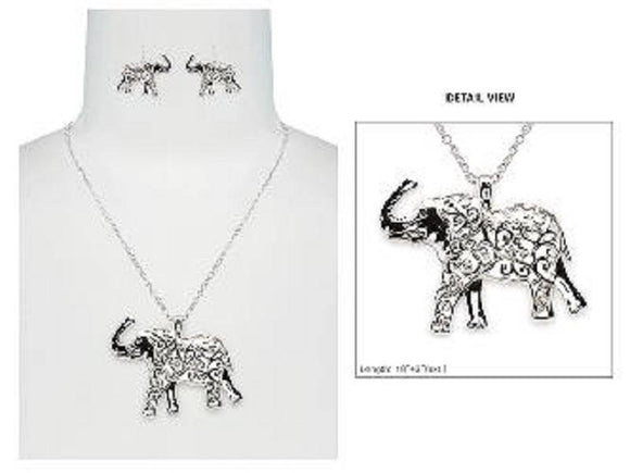 SILVER NECKLACE SET FILIGREE ELEPHANTS ( 6560 AS )