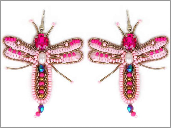 GOLD PINK DANGLING DRAGONFLY BEAD EARRINGS ( 3272 )