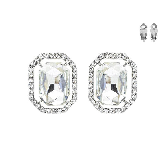 SILVER CLIP ON EARRINGS CLEAR STONES ( 168 RCL )