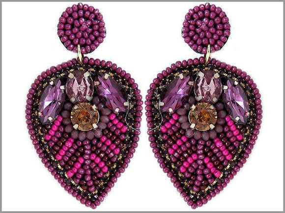 PURPLE BEAD LEAF EARRINGS ( 2804 )