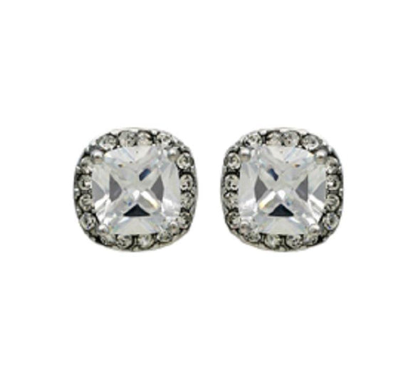 8mm SQUARE CZ CUBIC ZIRCONIA EARRINGS ( 21506 )