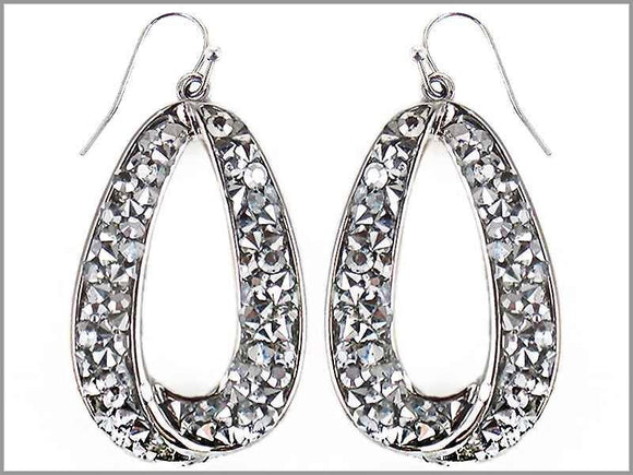 SILVER STONES CIRCLE EARRINGS ( 1164 )