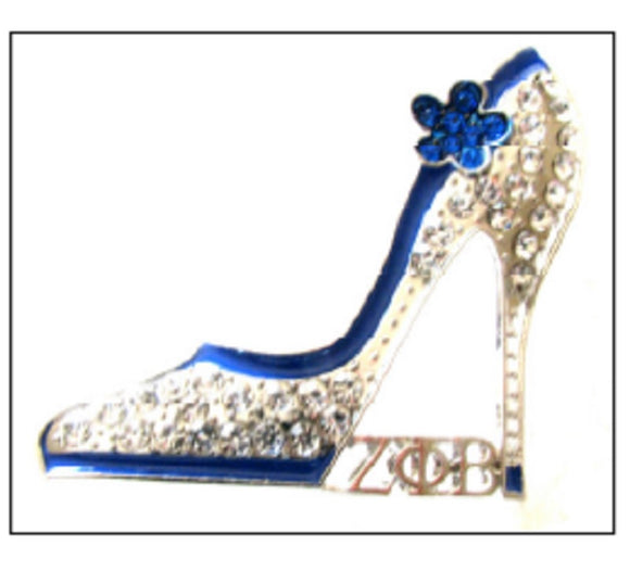 SILVER BLUE SHOE ZETA PHI BETA BROOCH ( 2723 )