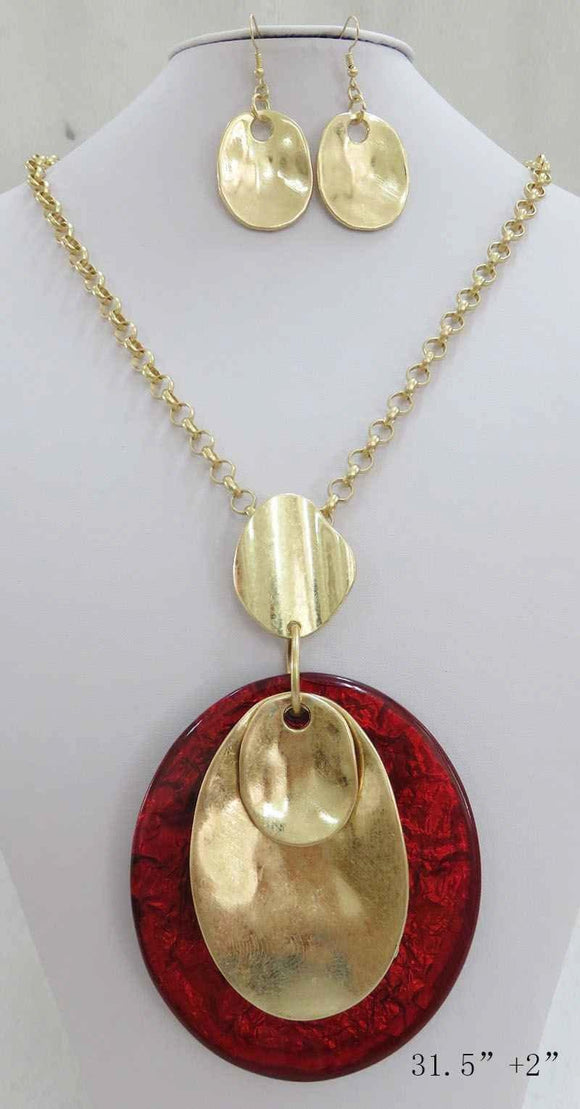 RED GOLD WRINKLE OVAL ACRYLIC PENDANT LONG NECKLACE SET ( 3708 MGRD ) - Ohmyjewelry.com
