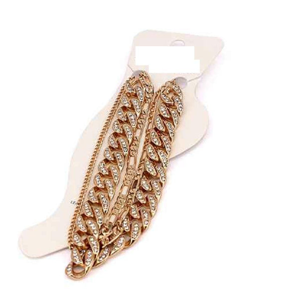 GOLD CHAIN ANKLET CLEAR STONES ( 5001 )