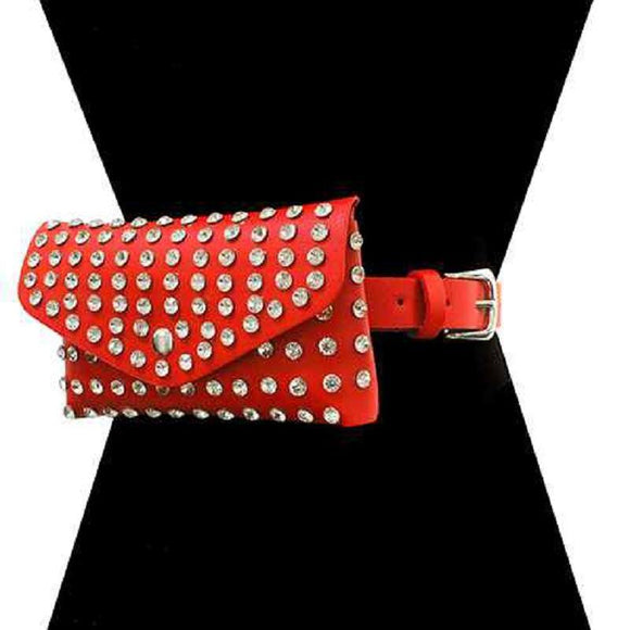 RED CLEAR CRYSTAL FAUX LEATHER BELT BAG ( 2526 RECLR ) - Ohmyjewelry.com