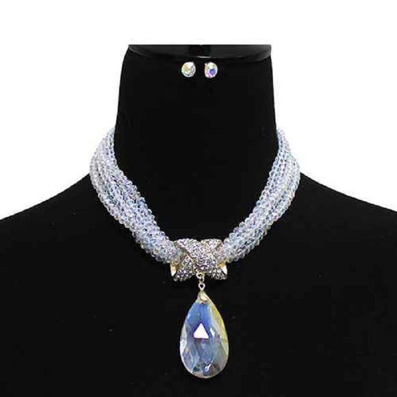 MULTI Strand AB Crystal Beaded Necklace Large Teardrop Pendant Gold Accents ( 7052 GDACL )