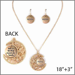 "Worn Gold ""Mom luv u to the moon & back"" Charm Necklace Set ( 4321 )"