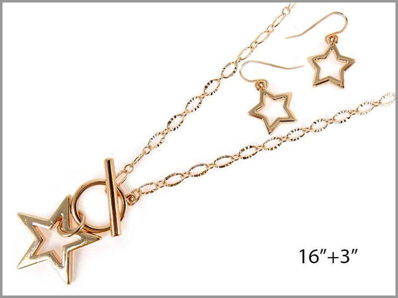 GOLD STAR NECKLACE SET ( 6606 G )