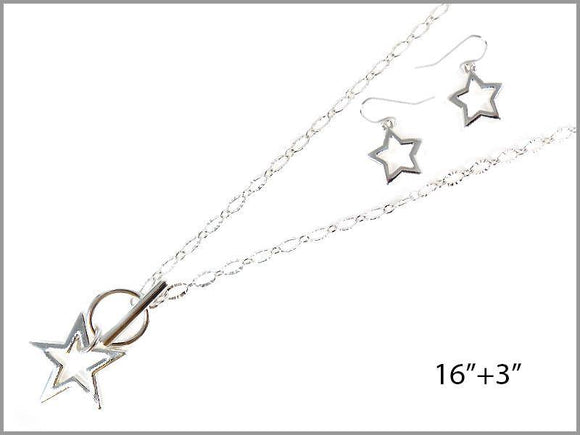 SILVER STAR NECKLACE SET ( 6606 S )