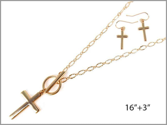 GOLD CROSS NECKLACE SET ( 6608 G )