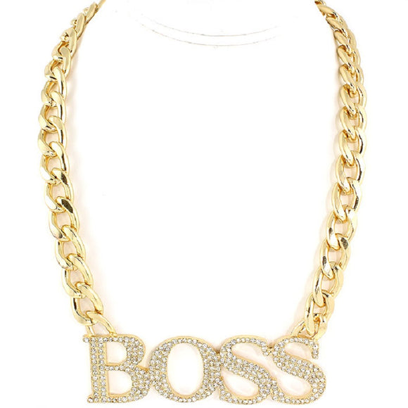 GOLD CHAIN NECKLACE WITH BOSS DESIGN AND EARRINGS ( 3001 )