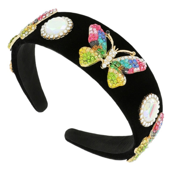 BLACK HEADBAND WITH MULTI COLOR BUTTERFLY ( 11413 )