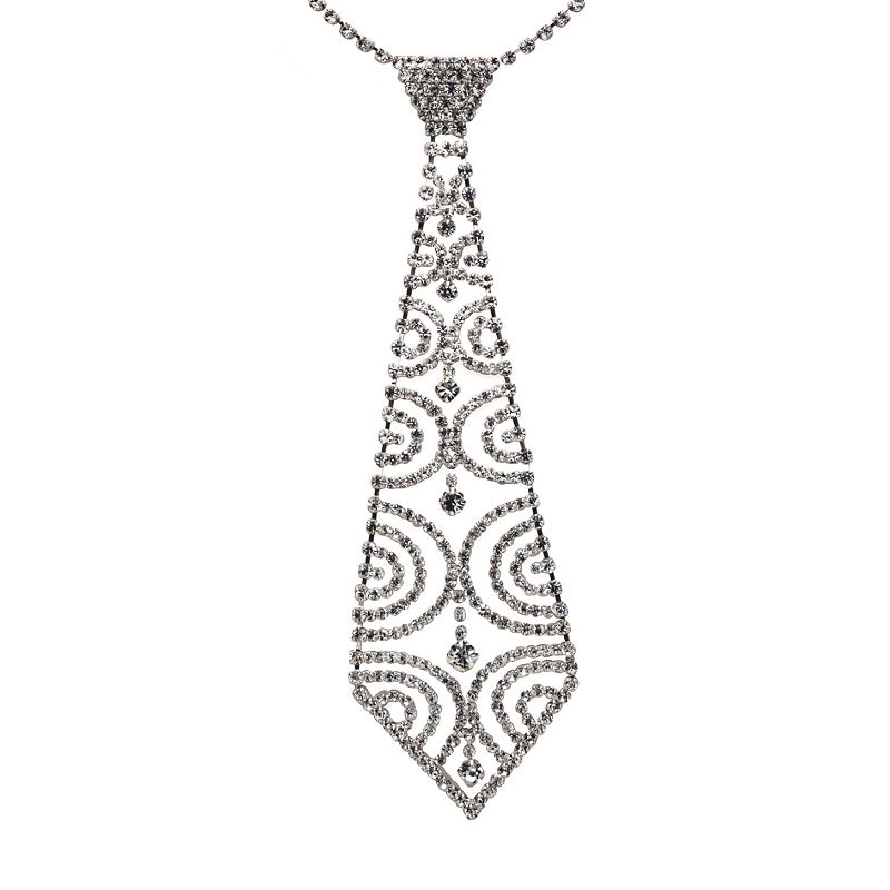 Silver and Clear Rhinestone Half Circle Design Tie Necklace