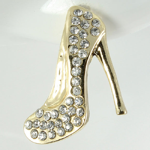 GOLD HEEL EARRINGS CLEAR STONES ( 1096 )
