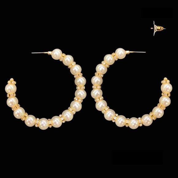 GOLD CREAM PEARL HOOP EARRINGS ( 136 GCR )