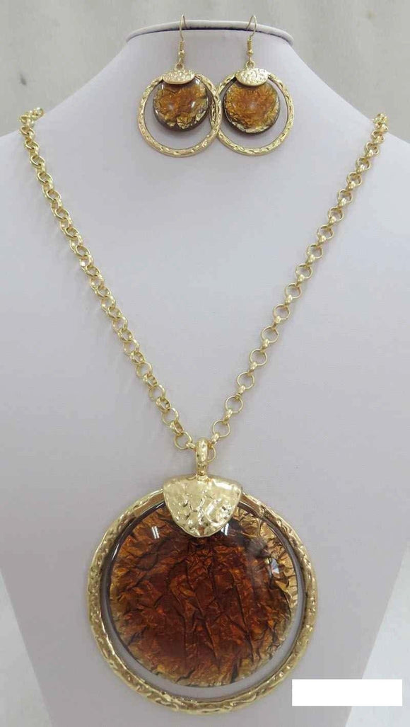 LONG GOLD NECKLACE SET BROWN STONES ( 3714 MGBN ) - Ohmyjewelry.com