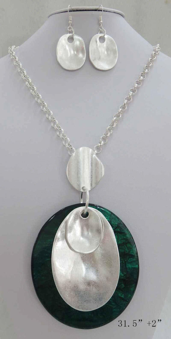 LONG SILVER NECKLACE SET GREEN PENDANT ( 3708 MSGN ) - Ohmyjewelry.com