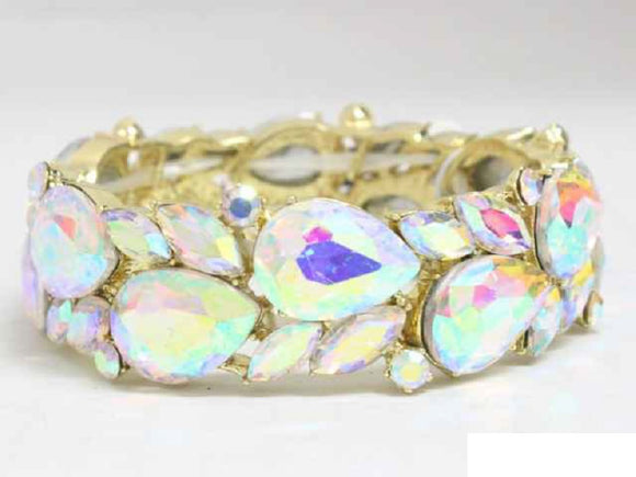 GOLD STRETCH BRACELET AB STONES ( 8700 )