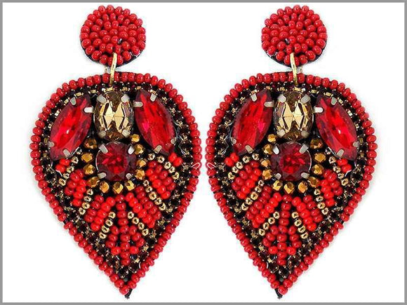RED BEAD LEAF EARRINGS ( 2804 )