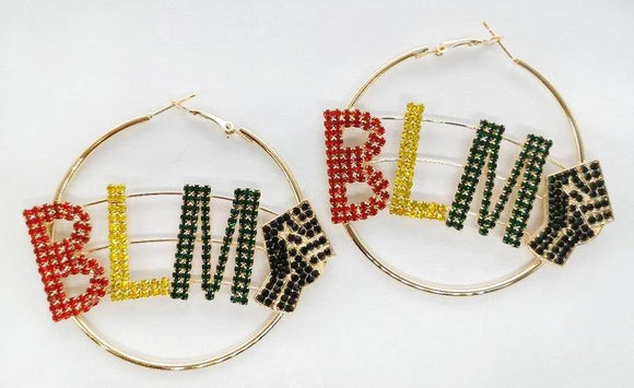 GOLD HOOP BLM BLACK LIVES MATTERS MULTI COLOR STONES EARRINGS ( 2208 )