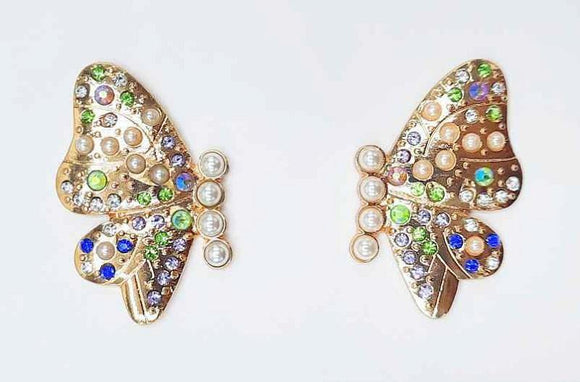 GOLD BUTTERFLY EARRINGS MULTI COLOR STONES CREAM PEARLS ( 1192 GDMT )