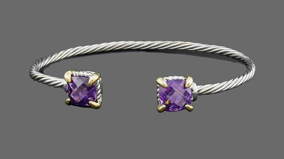 SILVER GOLD CUFF BANGLE PURPLE CZ CUBIC ZIRCONIA STONES ( 7639 )