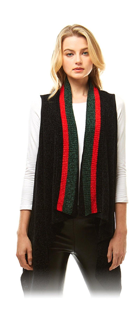 BLACK GREEN RED CHENILLE VEST ( 1016 )