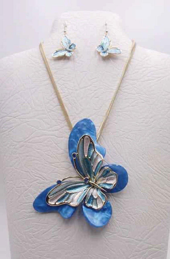 GOLD BLUE MULTI COLOR BUTTERFLY NECKLACE SET ( 3680 GBL ) - Ohmyjewelry.com