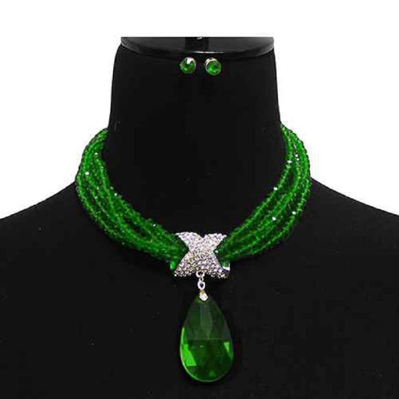 MULTI Strand GREEN CLEAR Crystal Beaded Necklace Large Teardrop Pendant Gold Accents ( 7052 GDEMR )