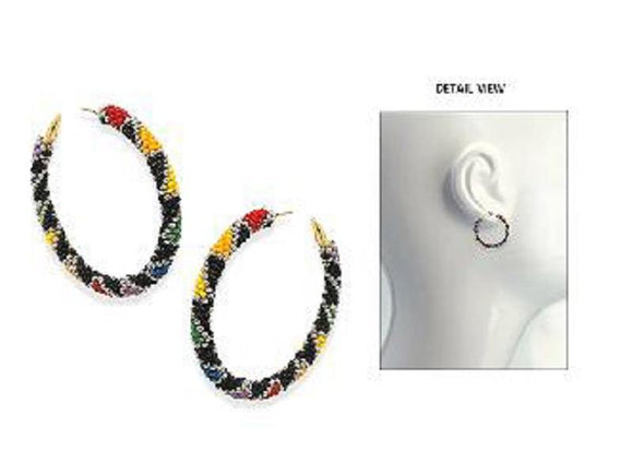 GOLD MULTI COLOR BEAD HOOP EARRINGS ( 3615 GMT )