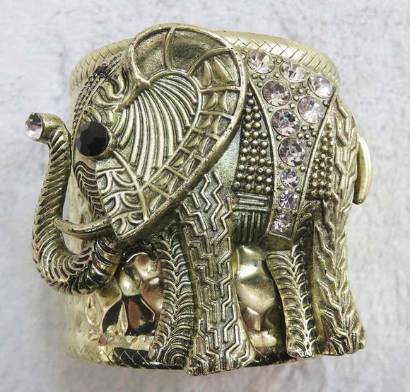 ANTIQUE GOLD CUFF BANGLE ELEPHANT CLEAR STONES ( 3934 AG )