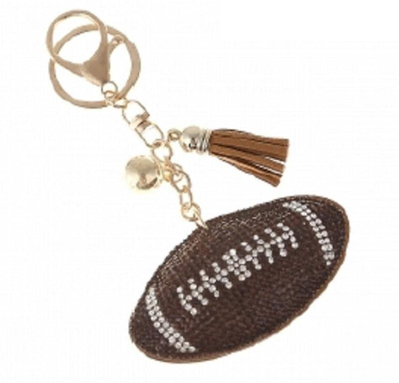 BROWN CLEAR STONES FOOTBALL KEYCHAIN ( 31191 )