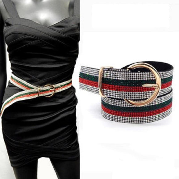 GOLD CLEAR RED GREEN BELT ( 5059 GDGMT ) - Ohmyjewelry.com