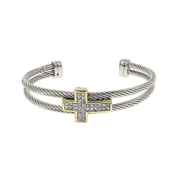 SILVER GOLD CUFF BANGLE CROSS CLEAR STONES ( 1134 ) - Ohmyjewelry.com