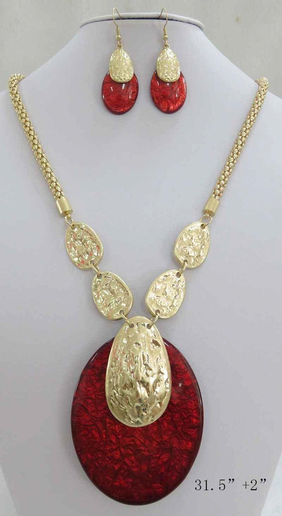 LONG GOLD NECKLACE SET RED ACRYLIC PENDANT ( 3707 MGRD ) - Ohmyjewelry.com