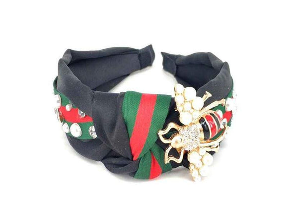 BLACK GOLD RED GREEN HEADBAND BEE PEARLS CLEAR STONES ( 100 GDMT ) - Ohmyjewelry.com