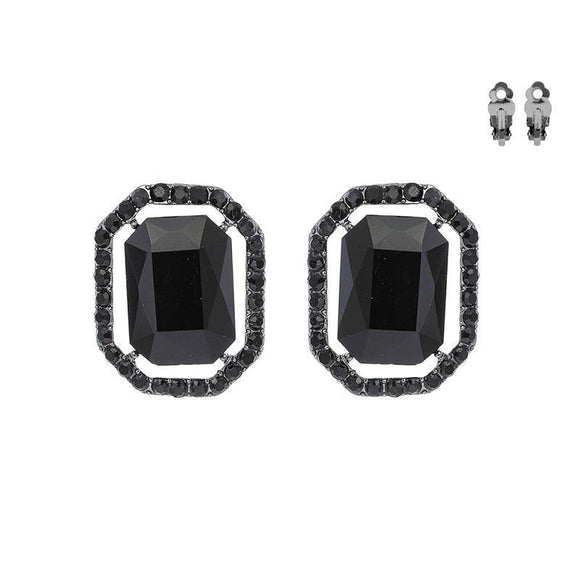 HEMATITE CLIP ON EARRINGS BLACK STONES ( 168 BJT )
