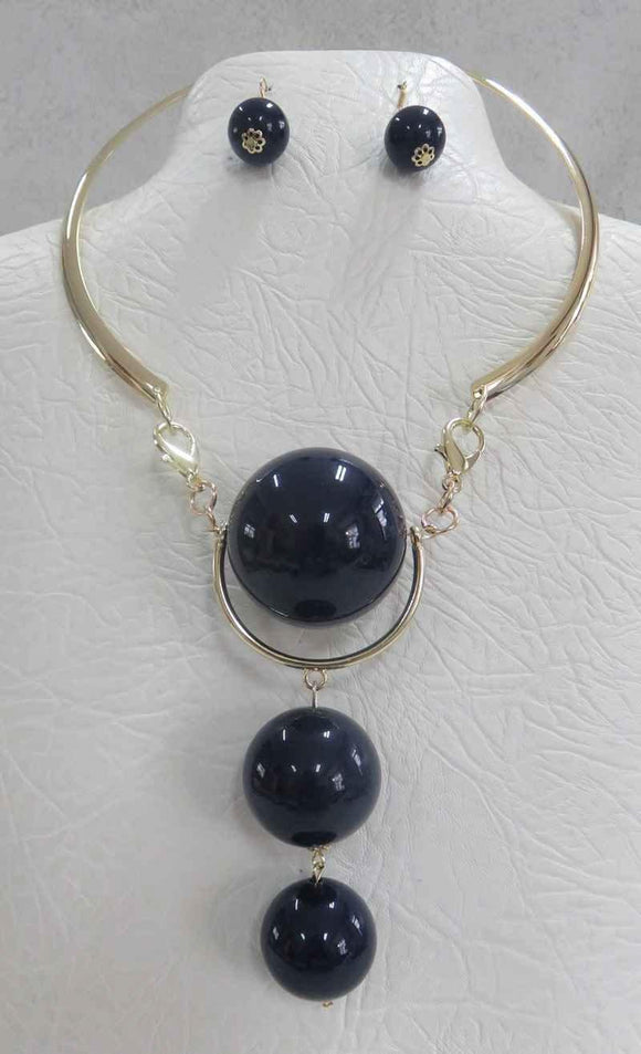 Gold Necklace with 3 Drop Large DARK Blue Ball Fashion Necklace and Earrings ( 3342 )