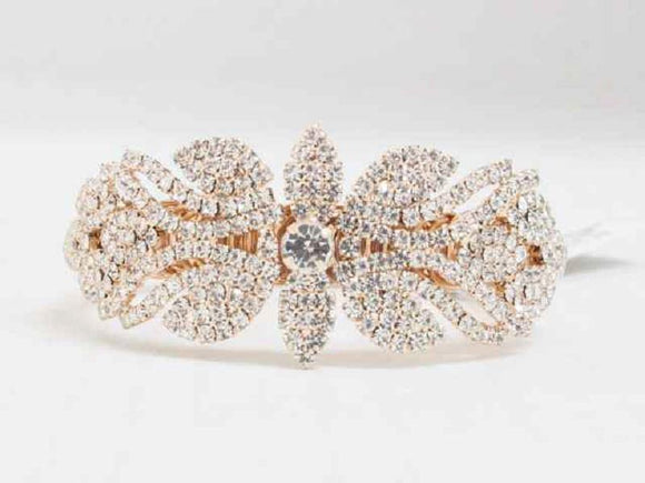 ROSE GOLD FLORAL CUFF BANGLE CLEAR STONES ( 8689 )