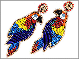 RAINBOW BIRD BEADED EARRINGS ( 2786 )