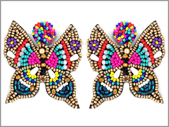 MULTI COLOR BEAD BUTTERFLY EARRINGS ( 2872 )